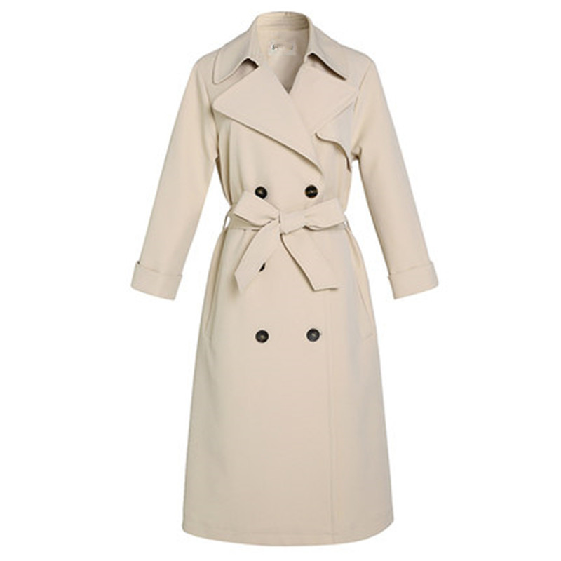 New 2019 Spring Autumn Plus Size Belt Slim Female Outerwear Women   Trench   Coat Beige Long Windbreaker RE2268