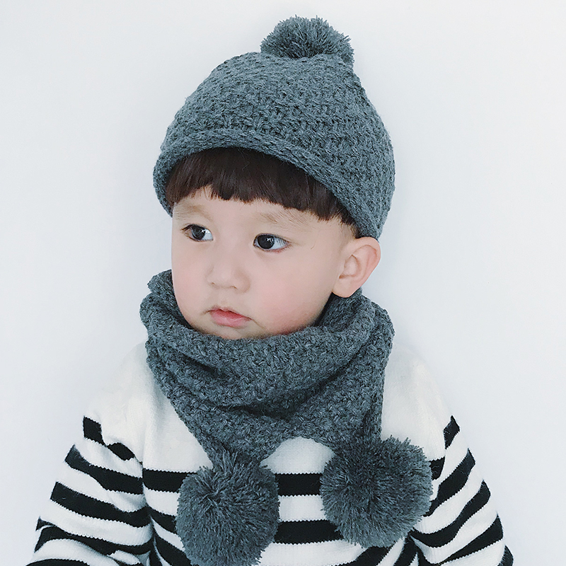 Winter Baby Kids Boy Girls Solid Caps Scarf Warm Wool Knitted Cute Letter Hat+beanie Scarf 2pcs/set Children Neck Warmer Cap Exquisite Workmanship In