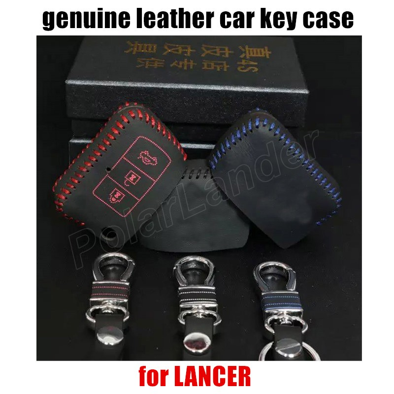 Only Red hot sale car key case leather hand sewing car key cover fit for MITSUBISHI STRENGTH DAZZLE LANCER
