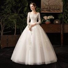 2021 החדש O צוואר ארוך שרוול שמלת כלה יפה תחרה Applique תחרה עד לקיר אורך Slim פשוט כלה שמלת Vestido דה Noiva
