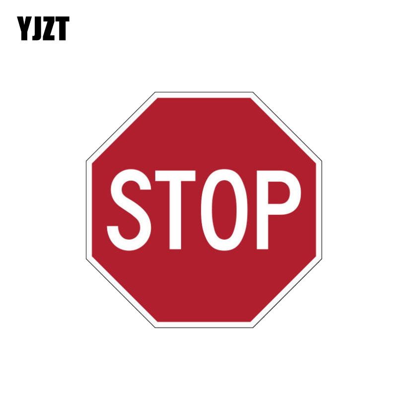 YJZT 11.2CM*11.2CM Personality Warning STOP Road PVC Decal Car Sticker 12-1164
