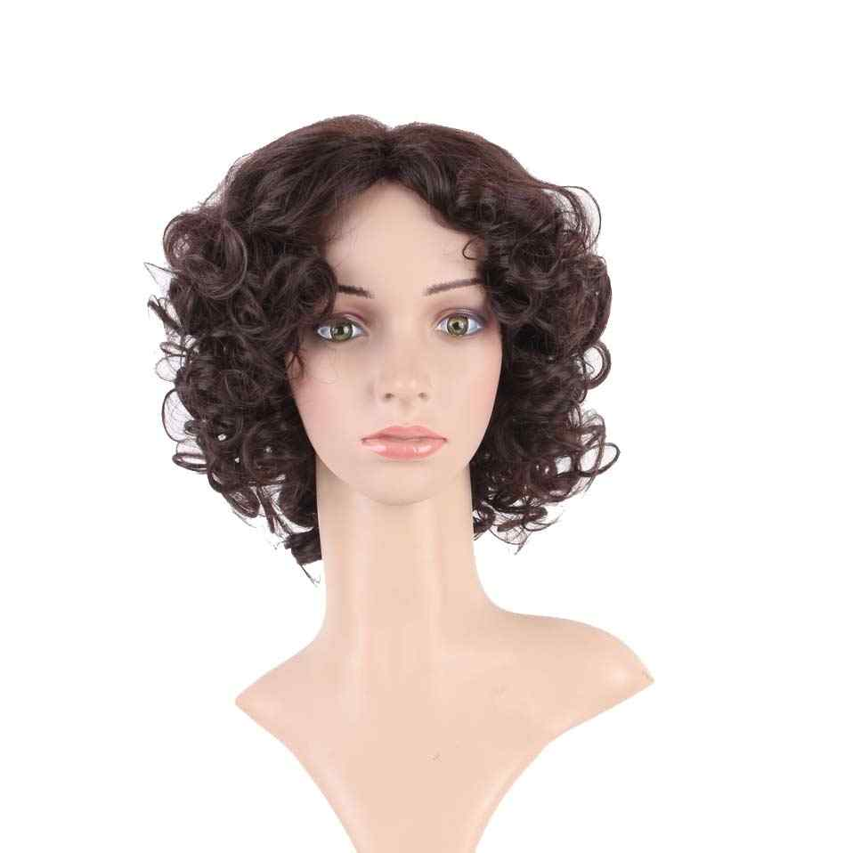 S-noilite, pelucas de pelo sintético rizadas cortas de 10 pulgadas, pelo brasileño Remy, peluca Afro para mujeres negras, pelucas naturales con flequillo de pelo