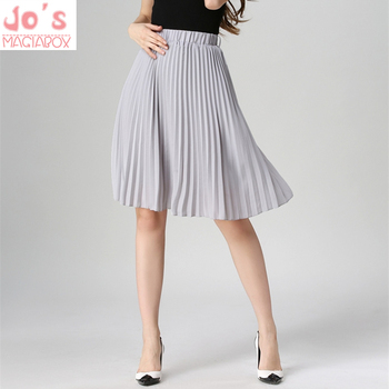 High Waist Pleated Skirt Women Solid Color Chiffon Vintage Knee Length Elastic Waist Skirt Spring Autumn Fashion Pink Skirts high waisted metal embellished chiffon skirt