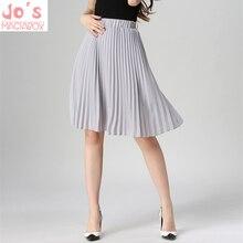 High Waist Pleated Skirt Women Solid Color Chiffon Vintage Knee Length Elastic Waist Skirt Spring Autumn Fashion Pink Skirts