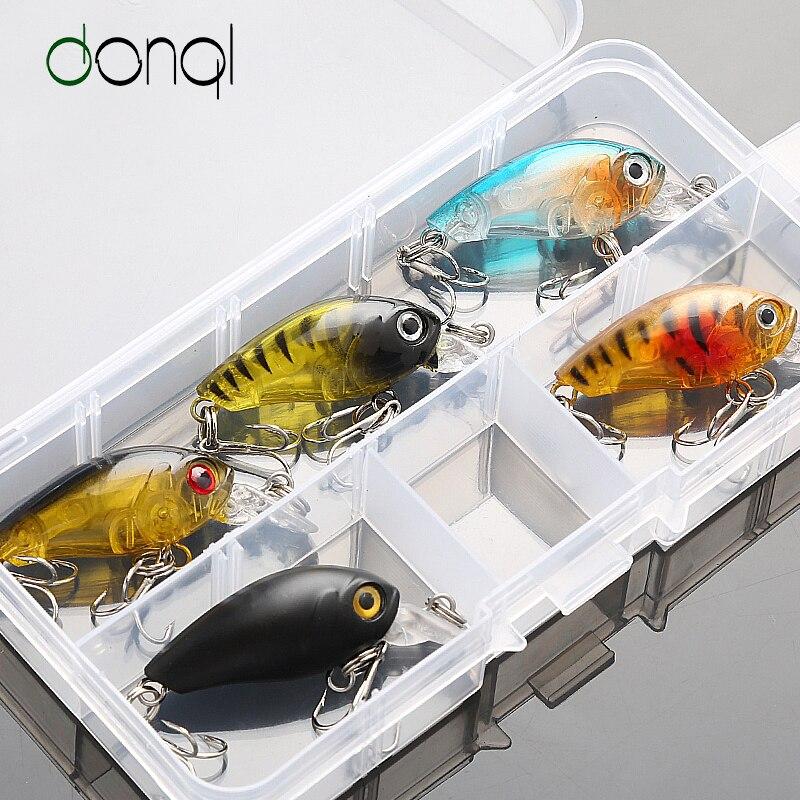 DONQL 5 шт. 4 г 4,5 см блесна набор приманки для рыбалки воблер набор приманки с коробкой тройные Крючки рыболовные снасти