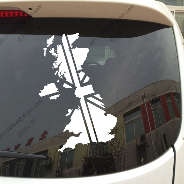 Map and flag of uk british union jack car decal sticker vinyl truck boat die cut