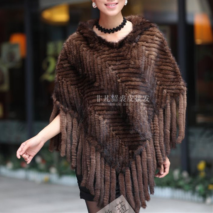 New Women Real Mink Fur Cloak Shawl Fringed Mink Woven Shawl Head Autumn And Winter Hooded Fur Coat