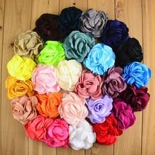120pcs/lot 8CM 26 Colors Newborn Vintage Soft Artificial Fabric Flowers For Headbands Chic Hair Flowers For Children Accessories