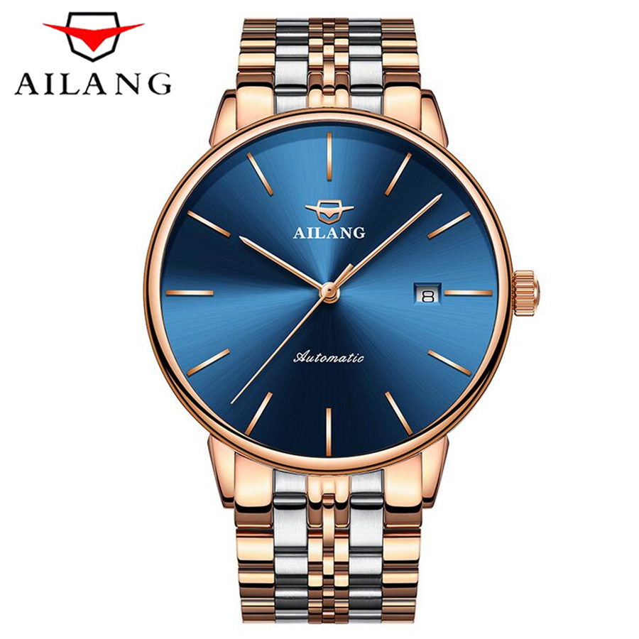 AILANG NEW Luxury Brand Submarine Series Male Steel Strap Automatic Mechanical Watches Men's Sports Military Wrist Watch relogio original binger mans automatic mechanical wrist watch date display watch self wind steel with gold wheel watches new luxury