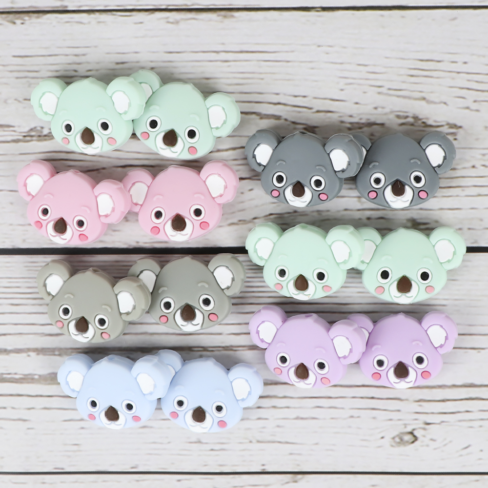 TYRY.HU 6pcs Koala Beads Carton Pacifier Clips Bead Food Grade Silicone Tiny Rod Mini Baby Teether