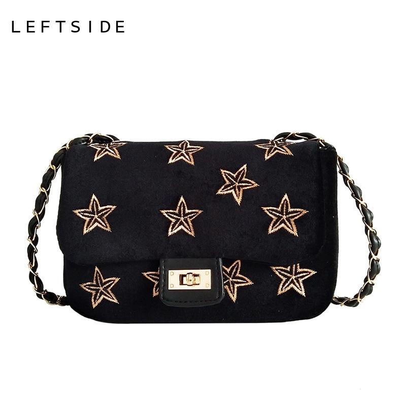 LEFTSIDE Nubuck Fall Small Soft Cross-body Bag Chain Girl Velvet Handbag With Embroidery Gold Stars Women five-pointed Star lipstick chain cross body bag