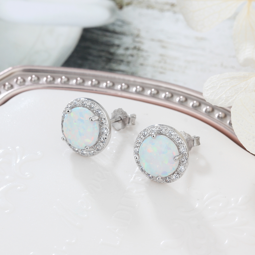 bbe6a4b38 Classic Round White Pink Blue Fire Opal Stud Earrings 925 Sterling ...