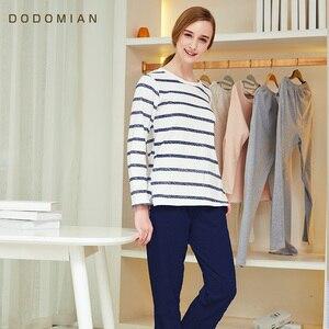Image 5 - Couple Pajama Cotton Striped  O neck Sleepwear Lover Home Clothes Plus Size L 3XL High Quality Men+Women Underwear 1 Set