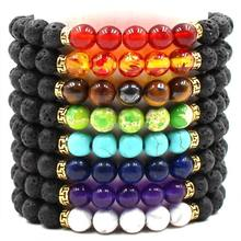 Buddha Bless Lose Weight Strand Bracelets Black Lava Healing Balance Beads Reiki Buddha Prayer Natural Stone Bracelet For Women(China)