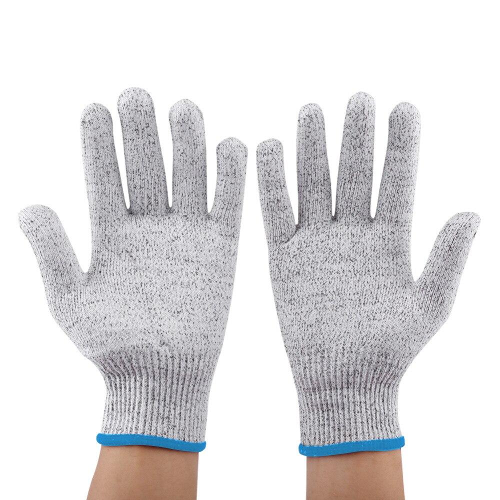 Black gardening gloves - 1 Pair Gloves Protective Cut Resistant Elastic Stab Resistant Kitchen Gardening Butcher Safety Gloves White Red Black Blue