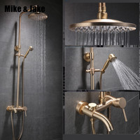 Luxury Gold brush shower set bathroom gold brush shower mixer luxury bathroom brush gold wall shower mixer bathtub hot cold tap