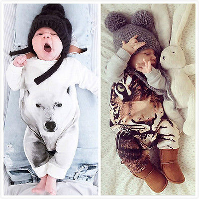 Kamimi 3D Printing Bear/Tiger/Panda Style Cotton Romper for 0-24M Newborn Baby Boys girls Animal clothes Infant jumpsuit сейф tiger bgx m d 73