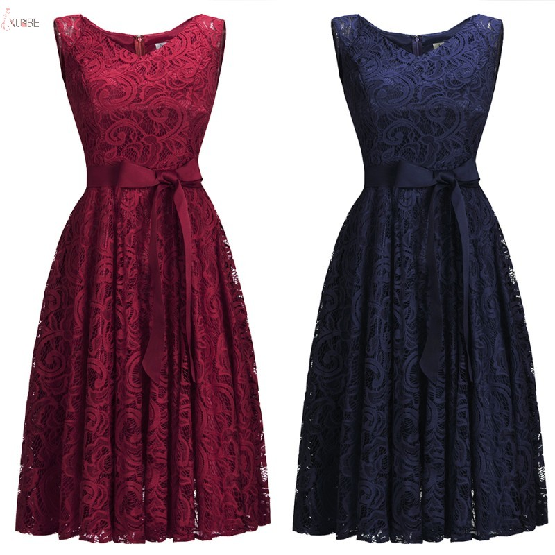 2019 Burgundy Navy Pink Lace Short   Bridesmaid     Dresses   Scoop Neck Sleeveless Wedding Party Gown 1147 vestido madrinha