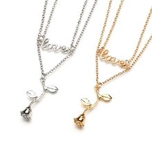 Gold Silver Rose Pendant Necklace For Women Statement Chain Layered Necklaces Lovers Valentine's Day Present Gifts Jewelry Kolye(China)