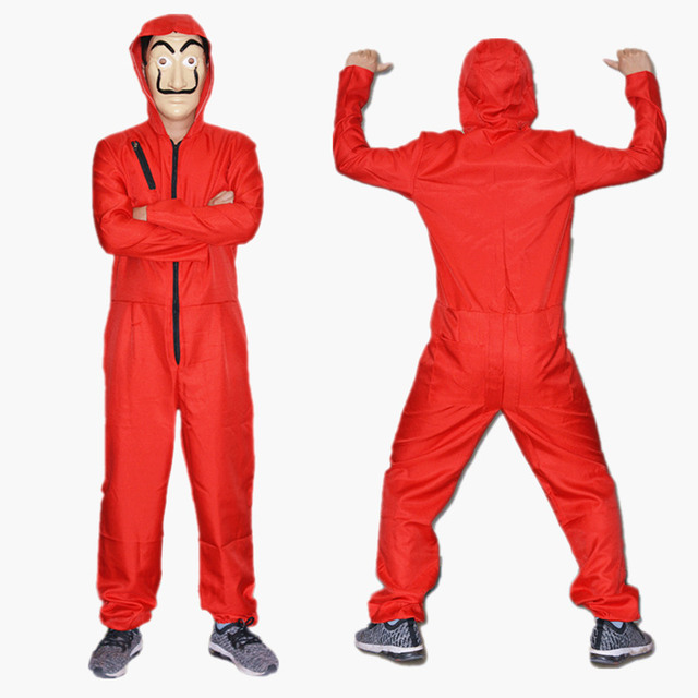 la casa de papel cosplay costume money heist salvador dali costumes with mask halloween party in