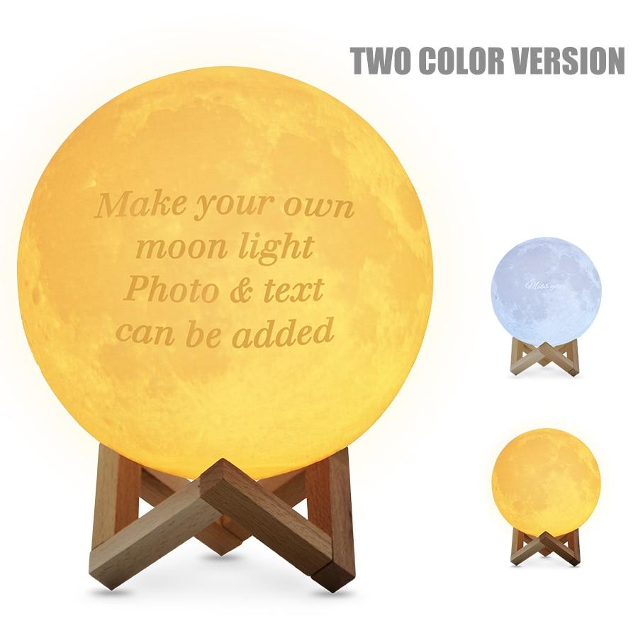 Photo Customizable Moon Lamp 3D Printed