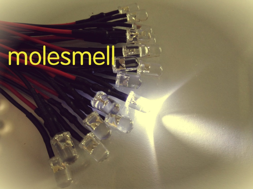 100pcs 5mm 24v White Water Clear Round LED Lamp Light Set Pre-Wired 5mm 24V DC Wired