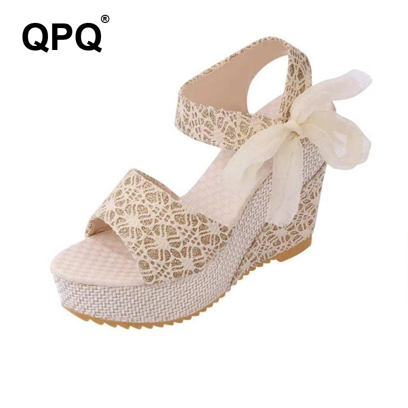 2017 Women Summer Wedges Sandals Waterproof Platform Lace-Up Bow Flip Flops Open Toe Floral Print High Heels Women Shoes ST199 mudibear women sandals pu leather flat sandals low wedges summer shoes women open toe platform sandals women casual shoes