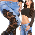 Women Jeans Fashion new European style Sexy lady lace Patchwork Slim pencil jeans female trousers women denim pants S2404