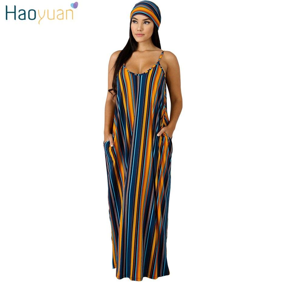 b5485094f HAOYUAN Plus tamaño Maxi vestido de las mujeres impresión rayas Boho ...