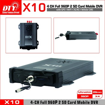 цена на X10 Basic, Factory direct 4 channel 720P Dual SD Card Vehicle DVR, mini SD Card Mobile DVR AHD DVR