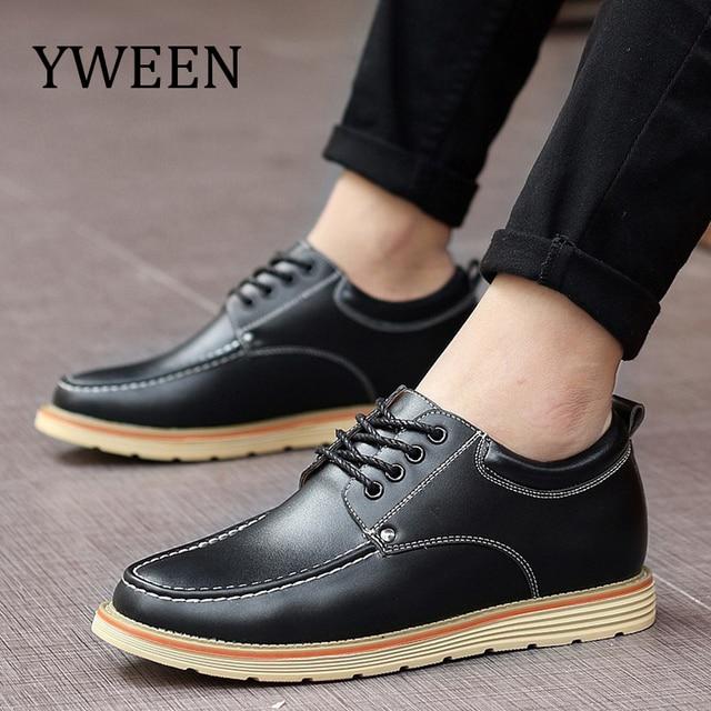 ff16f1e5e6b6 YWEEN весенне-осенняя мужская обувь на шнуровке, стильная мужская кожаная  обувь, модные