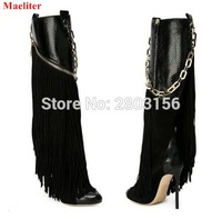 New Autumn Tassel Female High Heeled Boots Women Fringed Boots Sexy Black Chain Thin Heels Botas