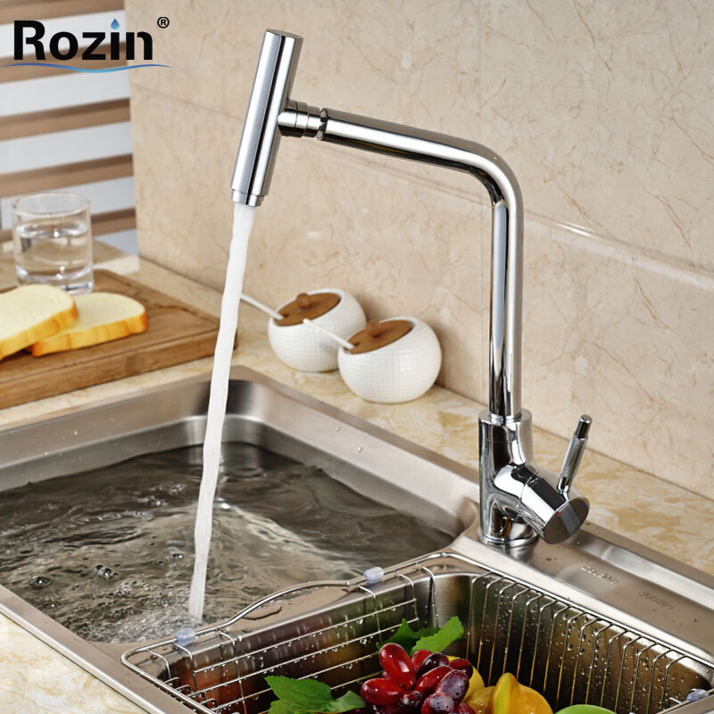 Chrome Brass Deck Mount Kitchen Sink Mixer Taps Single Handle Swivel Rotation Spout Faucet цена и фото