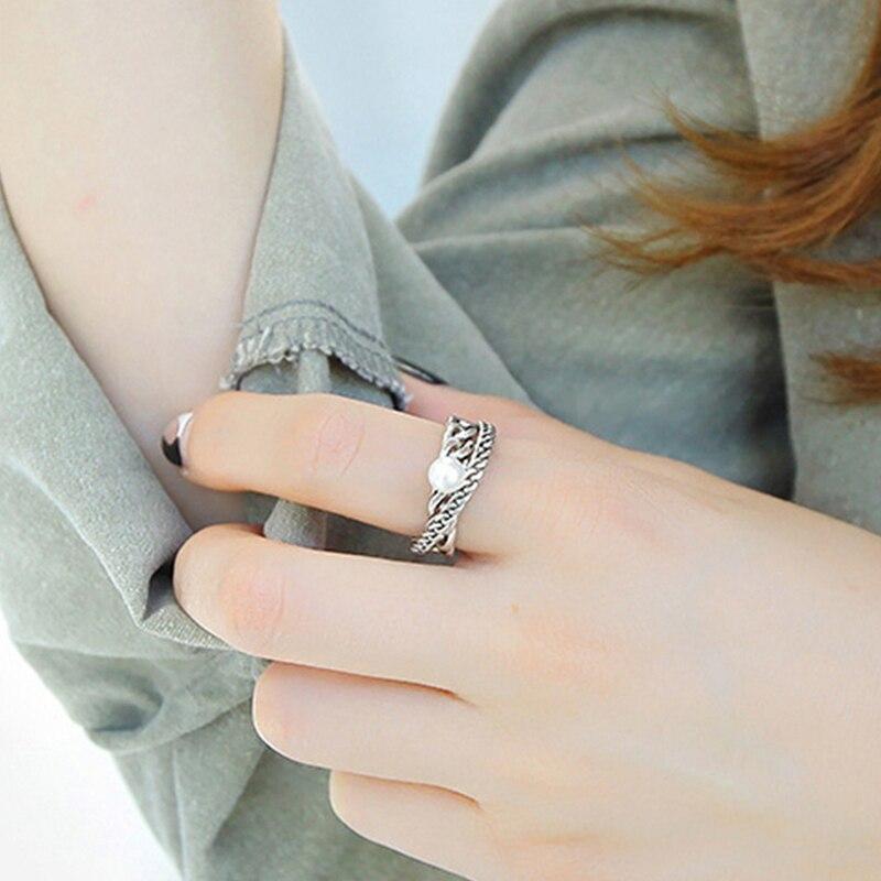 Rockart натуральная стерлингового серебра 925 Ретро два Слои цепи естественный пресноводный жемчуг Открытое кольцо для Для женщин Регулируемый...