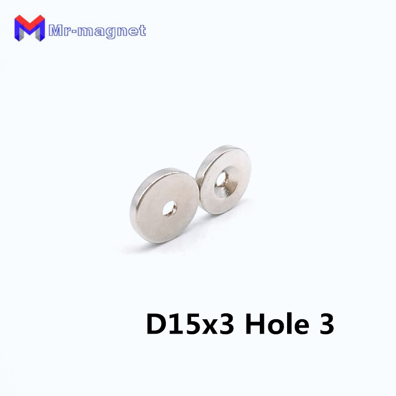 50pcs 15x3-3 hole magnet 15x3mm 3mm, NdFeB Dia 15mm x 3mm magnets 15x3-3mm