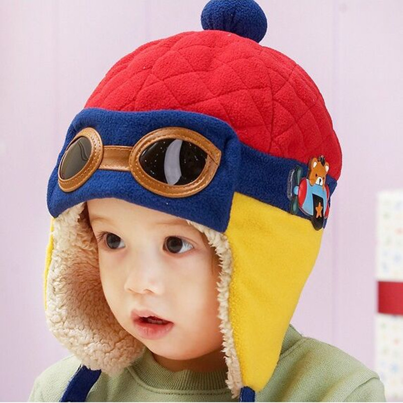 Cute Pilot Aviator Baby Hat Girl Boy Toddler Infant Hats Keep Warm Cap Earmuff Protect Baby Beanie