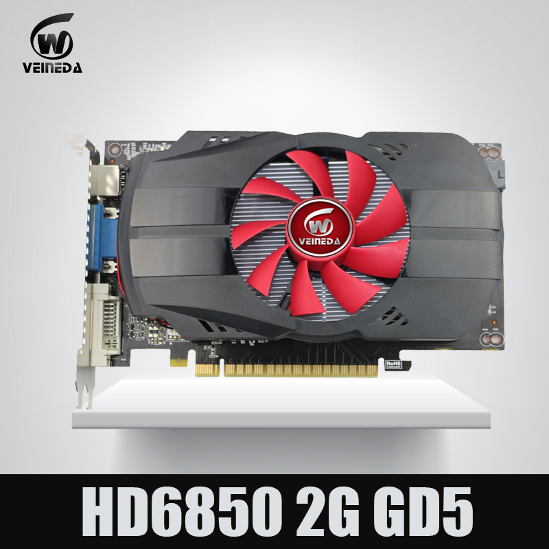 100% New Graphics cards Veineda HD6850 2GB GDDR5 Stronger than R7 350 2GB Card for AMD Radeon Gamings original gpu veineda graphic card hd6850 2gb gddr5 256bit game video card hdmi vga dvi for ati radeon instantkill gtx650 gt730