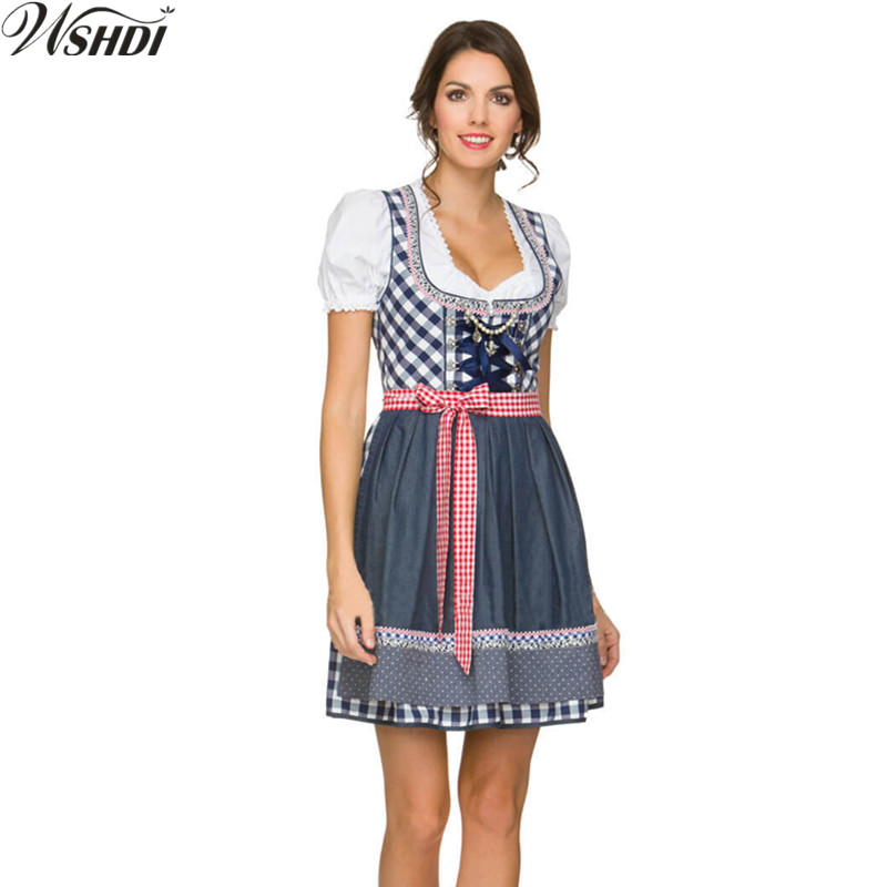 NEW!Oktoberfest Beer Maid Costume 2018 German October Dirndl Skirt Dress Apron Blouse Gown Costume Beer Girls Wench Fancy Dress