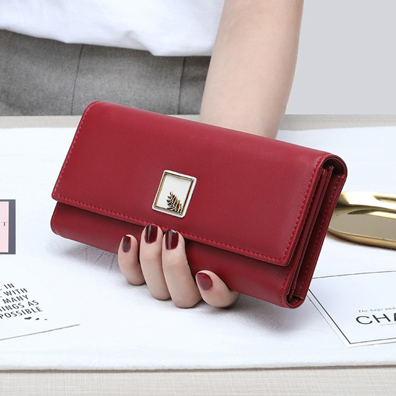 Brand New Women Wallets PU Leather Purse Long Phone Wallet Leaves Pouch Handbag For Women Coin Purse Card Holders Clutch