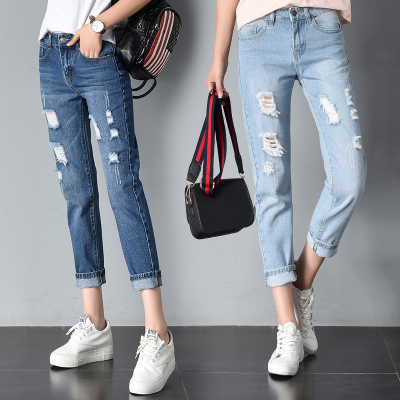 Plus Size Distressed Boyfriend Jeans High Waisted Destroyed Jeans For Women Ripped Jeans Female Ankle Length Denim Pants New