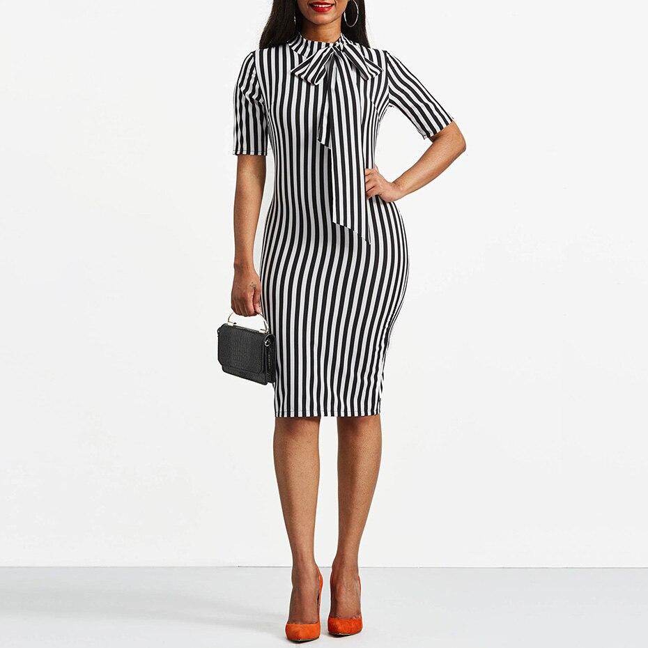 Clocolor Vintage Dress Spring Autumn Retro Pin Up Bodycon Office Ladies Clothing Work Bowtie Plus Size Pencil Midi Striped Dress