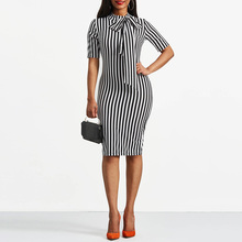 Clocolor Vintage Dress Spring Autumn Retro Pin Up Bodycon Office Ladies Clothing Work Bowtie Plus Size Pencil Midi Striped