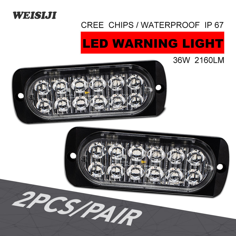 WEISIJI 2Pcs/Set 36W 12-LED 12V 24V 2160LM LED Strobe Warning Lights Strobe Grille Flashing Light bar Super Bright White&Amber