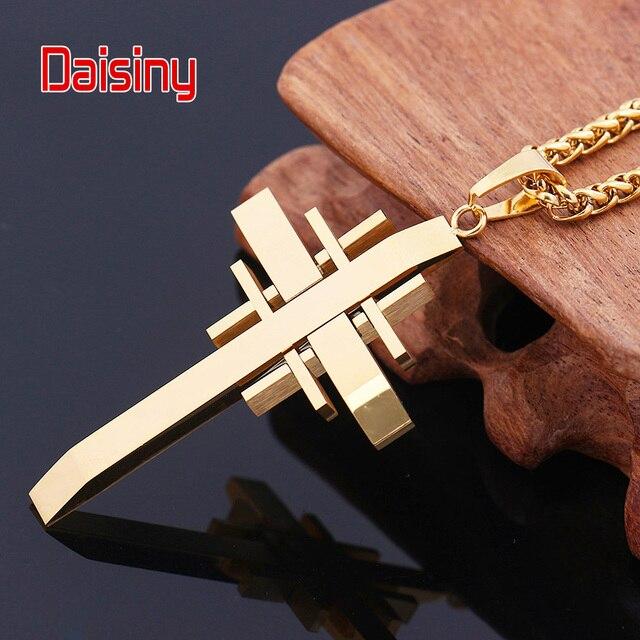 Pendentifs croix classique pour hommes bijoux en acier inoxydable 316L jamais se faner or 2016 croix pendentif collier chaîne