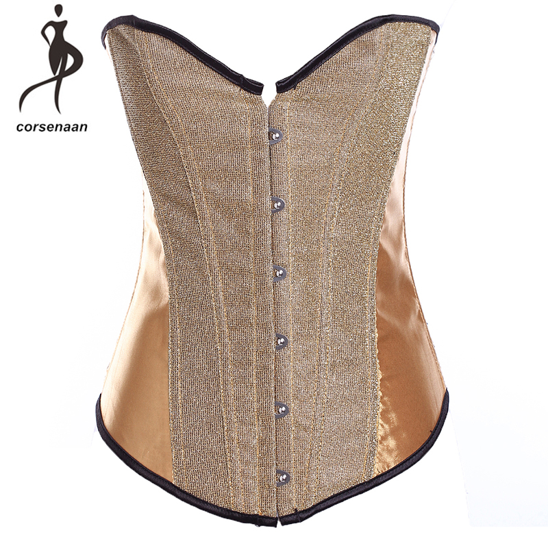 Gold Women's Burlesque Sequin Overbust   Corset     Bustier   With Shiny Showgirl Costumes Corselet With G String 867#