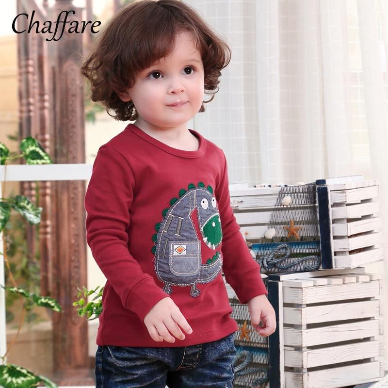 Chaffare Kids Boys Sweatshirt Dinosaur Applique T shirt Baby Long Sleeve Tops Clothes Spring Children Cartoon Outfits for Boy