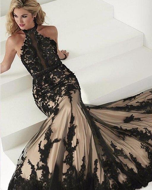 Formal black lace halter dress