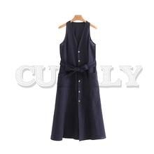 купить CUERLY women elegant V neck midi dress 2019 bow tie sashes sleeveless pocket button decrorate mid calf dresses A line vestidos по цене 2435.99 рублей