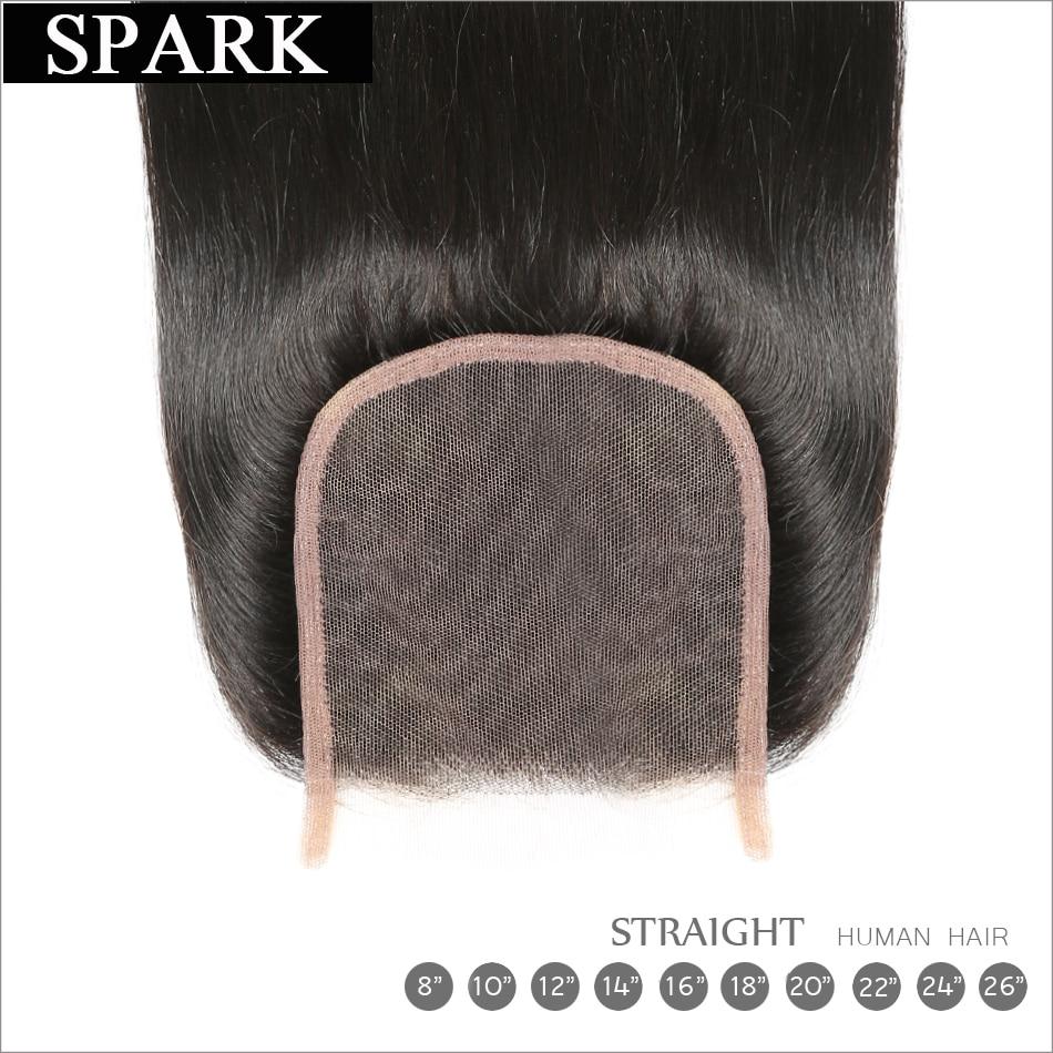 Spark բրազիլական ուղիղ մազերի 4x4 ժանրի - Մարդու մազերը (սև) - Լուսանկար 3