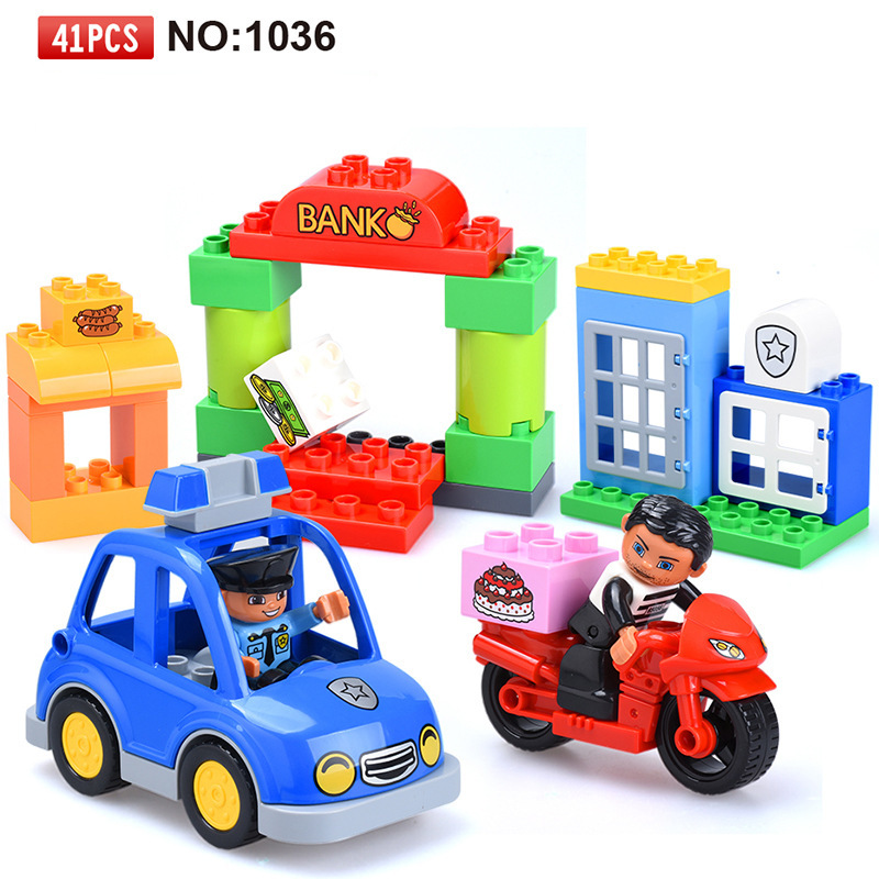 41PCS Big Size Diy Building Blocks City Station Police and Thief Educational Toys for Children Compatible with legoingly Duplo 407pcs sets city police station building blocks bricks educational boys diy toys birthday brinquedos christmas gift toy